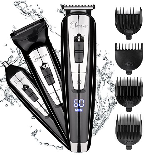Hatteker 3 in 1 Mens Beard Trimmer Waterproof Nose Hair Trimmer Cordless Hair Clippers with LED Display USB Rechargeable Fathers Day Gifts Husband by Hatteker