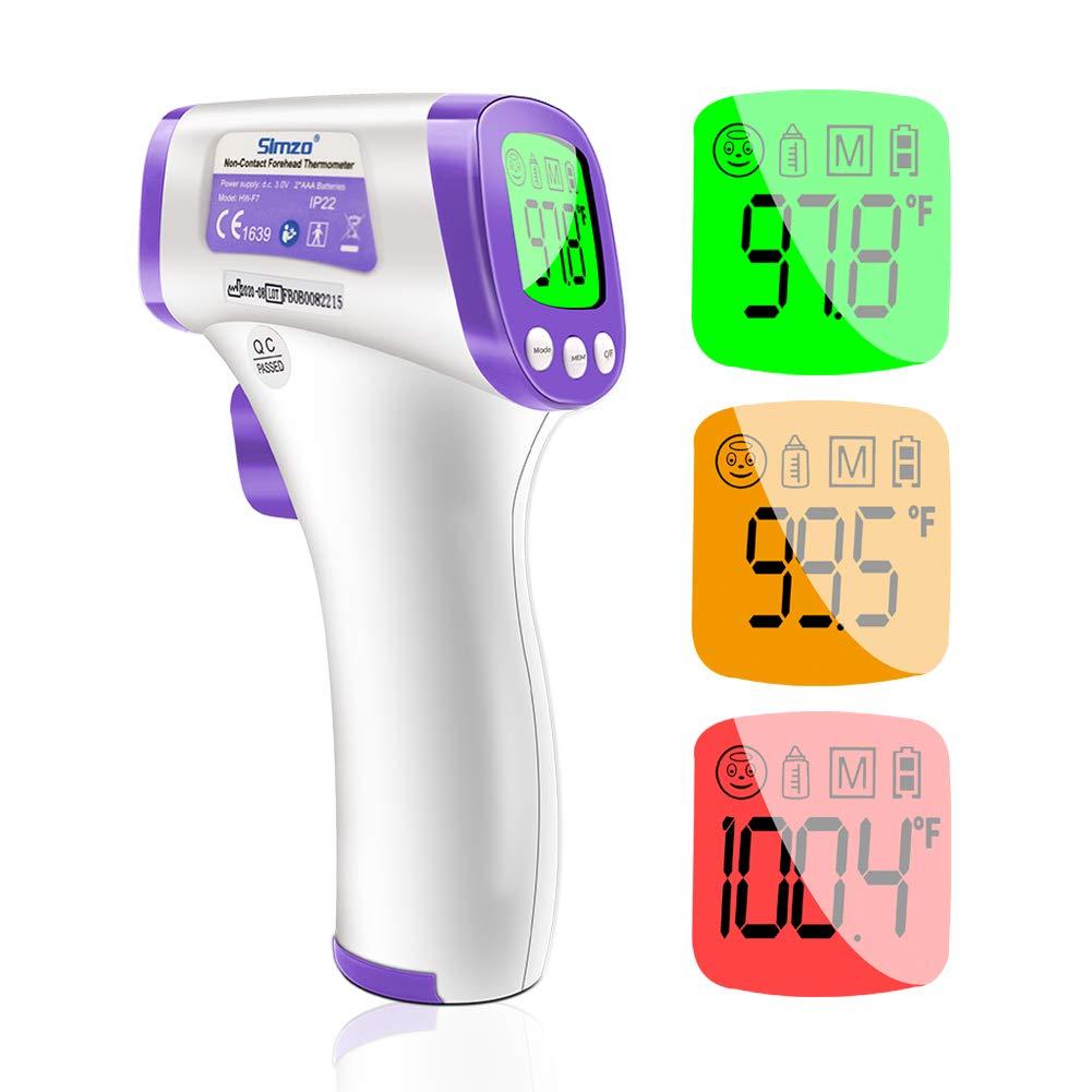 Termometro frontale, termometro a infrarossi senza contatto per adulti, bambini, neonati, lettura istantanea accurata e allarme febbre, richiamo della memoria, ° F / ° C