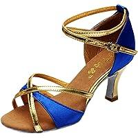 Fitfulvan - Zapatos de Baile Latino para niña con Tacones medianos de satén, Zapatos de Baile Tango Salsa