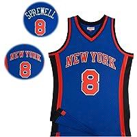 WYK # 8 Sprewell Knicks Jersey de Baloncesto Chaleco de Baloncesto para Hombre 98-99 Temporada Retro Azul Bordado Transpirable versión Chaleco Deportivo Traje de Entrenamiento Regalo de Vacaciones
