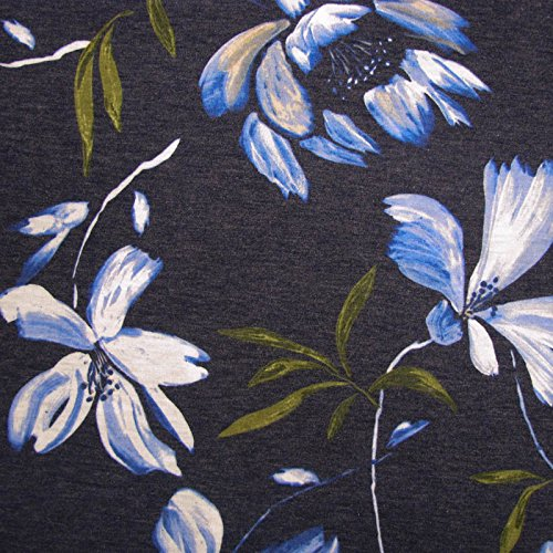 Denim and Blue Floral Print Damask on Rayon Spandex Jersey Knit Fabric
