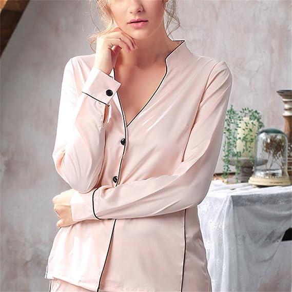Pratnd Sexy Womens DeepHomewear Set Fashion Korean Style Fashionable Ladies Nightwear Pijamas Set Faux Champagne Set L at Amazon Womens Clothing store: