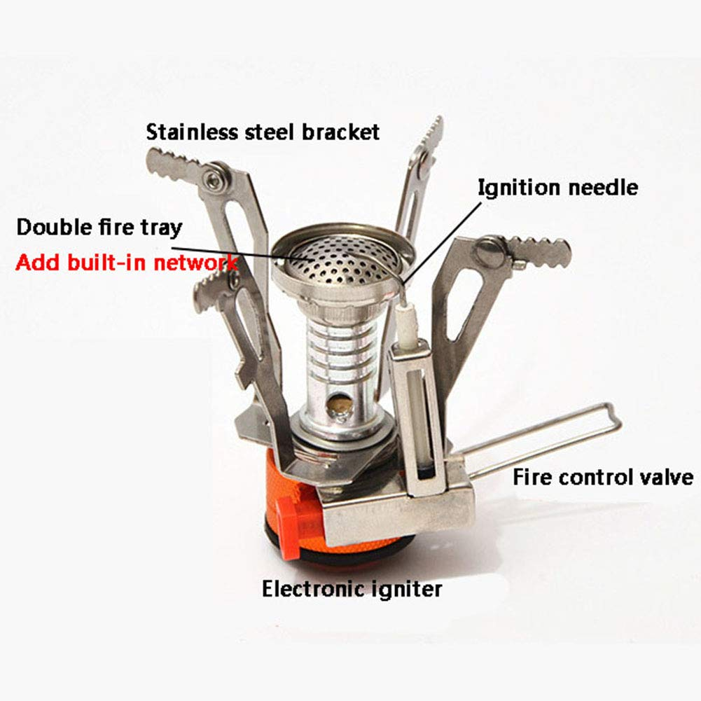 YXCXC Wild Camping Integrated Mini Stove Head with Electronic Ignition Portable Stove Stove Cooker Travel,Silver by YXCXC (Image #2)