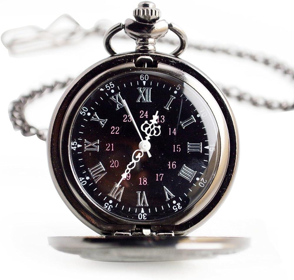 Reloj de bolsillo reloj de bolsillo de cuarzo Reloj de bolsillo número romano retro clásico Reloj de bolsillo de acero inoxidable personalizado pequeño reloj personalizado negro Dos cadenas para niños: Amazon.es: Relojes