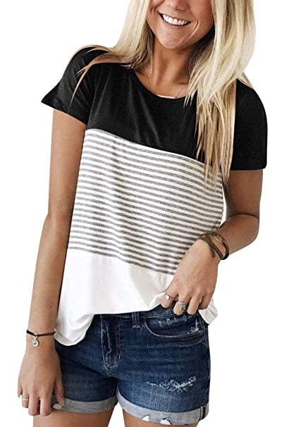 4b7141fb86c Image Unavailable. Image not available for. Color  ANDUUNI Women s Round  Neck Striped Color Block T-Shirt Short Sleeve Casual Loose Tunic Blouse
