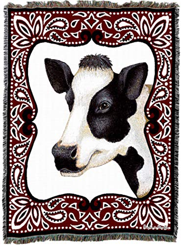 Pure Country Weavers | Cow Bandana Woven Tapestry Throw Blanket Cotton with Fringe Cotton USA 72x54