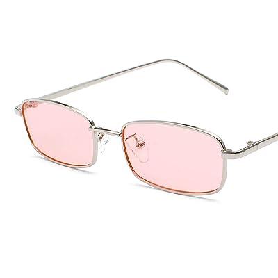 Bmeigo Lunettes de soleil Femme Vintage Rétro Rectangulaire Métal lunettes Unisex Mode UV400 Ultra léger