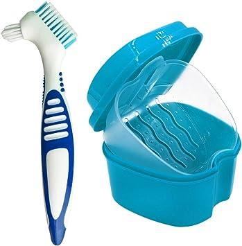 Estuche para Dentadura, Caja para Baño de Dentadura para Taza de Dentadura con Cepillo de Limpieza (Color Aleatorio), Baño para Dentadura para Limpieza de Retenedores (Azul): Amazon.es: Salud y cuidado personal