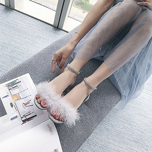 aperta CAICOLOR Grigio Fibbia coreani Grigio UK4 Colore alti EU37 5 tacchi femminile punta sandali ruvida estate con dimensioni 5 con CN37 Slipper pqIwIA