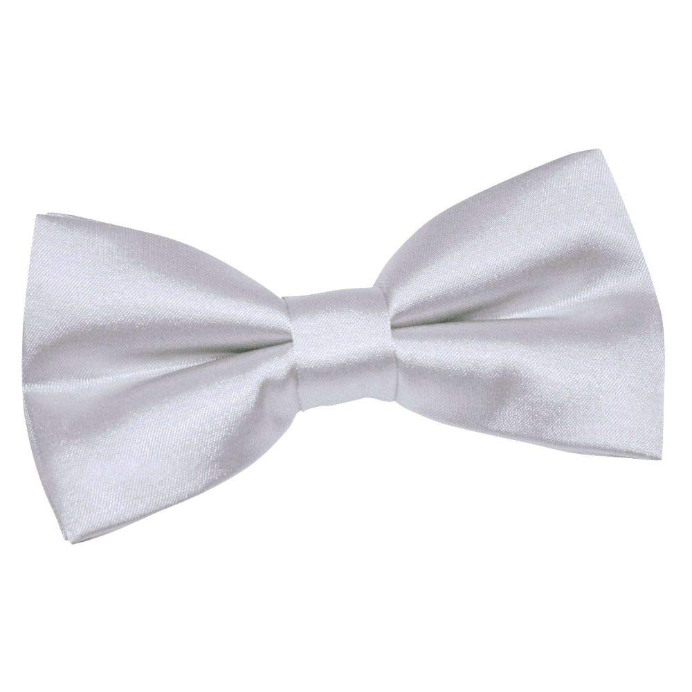 SILVER HIGHT QUALITY BOW TIE MENS ADJUSTABLE SOLID COLOR #GSNH