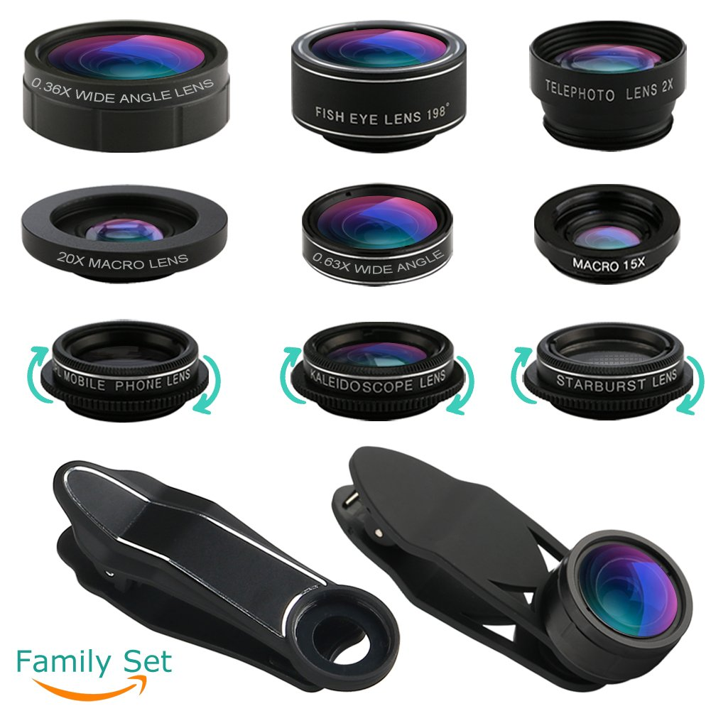 iPhone Lens, Cell Phone Lens Kit-Super Wide Angle Lens, Super Macro Lens, Fisheye Lens, Starburst Lens, CPL Lens, Kaleidoscope Lens, Telephoto Lens, Wide Angle Lens, Macro Lens, 11 in 1 Camera Lens