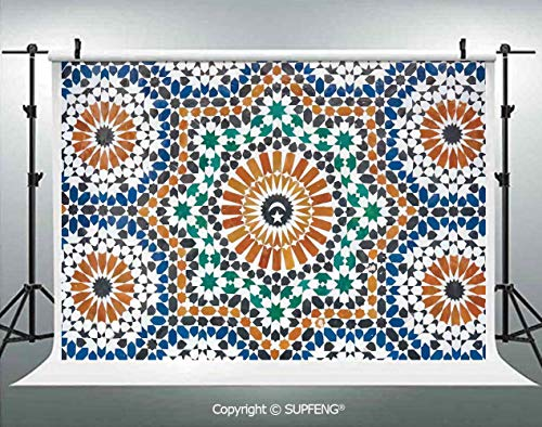 Photography Backdrops Traditional Moroccan Mosaic Style Art Moon and Star at The Center Ottoman Motifs 3D Backdrops for Photography Backdrop Photo Background Studio Prop