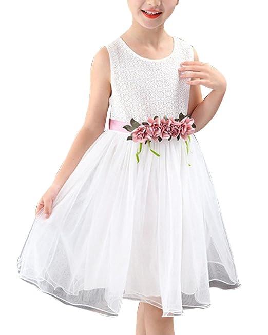 Vestido De Fiesta De Noche con Flor Sin Mangas Vestidos Cortos Boda para Niñas Blanco 110