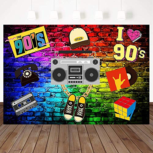 Mehofoto 90s Backdrop Graffiti Hip Pop 90s Themed Party Backdrop 7X5ft Vinyl Radio Music Party Banner Decoration Supplies Portrait Photography Background -