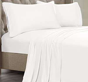 Posh Home Jersey Knit Ultra Soft Lightweight Cotton T-Shirt Comfortable Breathable Cooling Cozy Unisex All-Season Bed Sheet Set Easy Care (King, White)