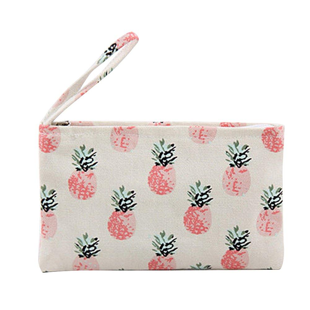 Cdet Monedero Tejidos de señora Bolsa de Moneda Monedero Key Handbag Bags Piña de Color Rosa