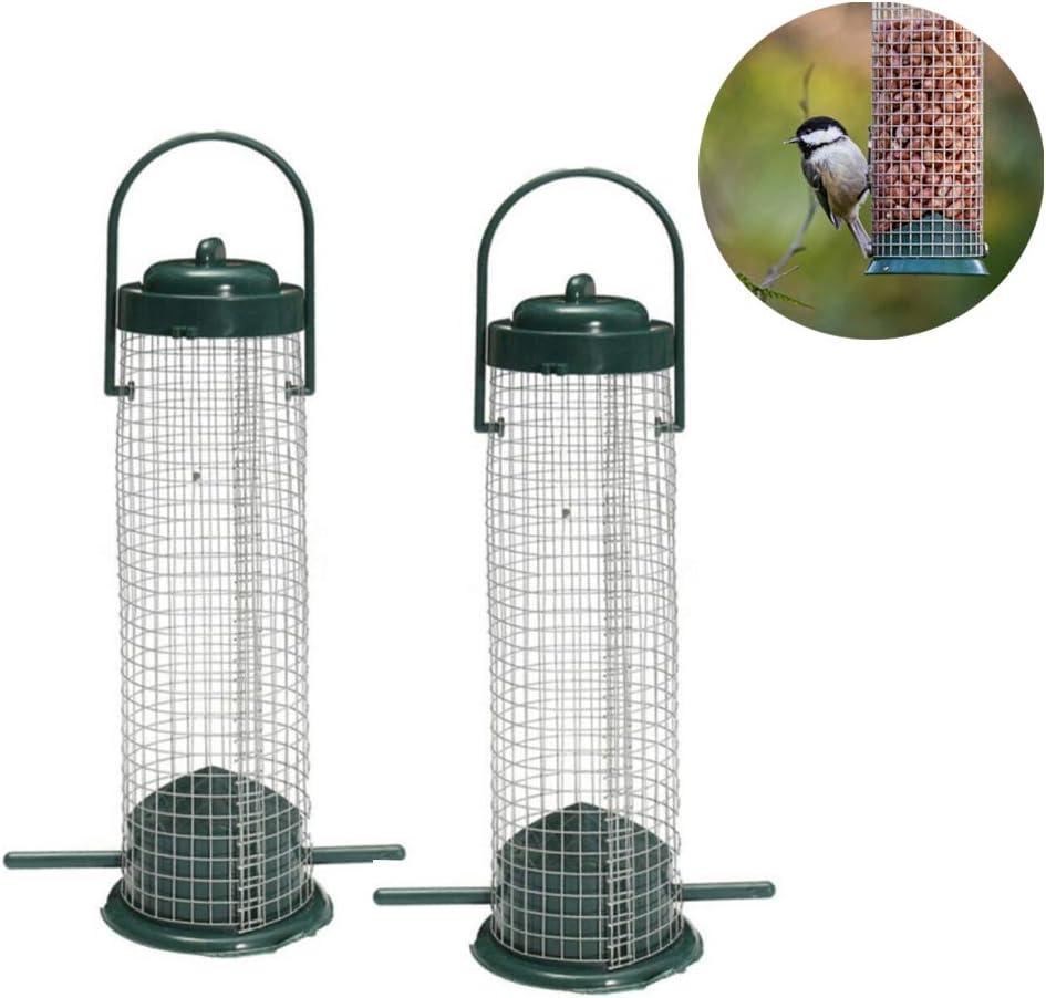 Comedero para pájaros al aire libre con colgador de cacahuetes y nueces para atraer pájaros silvestres (verde)