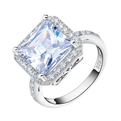 Orsa Jewels 6ct. Square Crystal Ring White Gold Plated With Princess Cut Large CZ Engagement Ring For Women XWoUqml