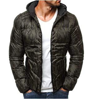 SHOWNO Men Winter Zip Up Fleeced Thicken Camouflage Warm Quilted Jacket Coat Outerwear