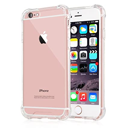 online store e48e1 b7802 iPhone 6/6s Case,Amuoc Crystal Clear Cover Case [Shock Absorption] with  Transparent Hard Plastic Back Plate and Soft TPU Gel Bumper (Clear)