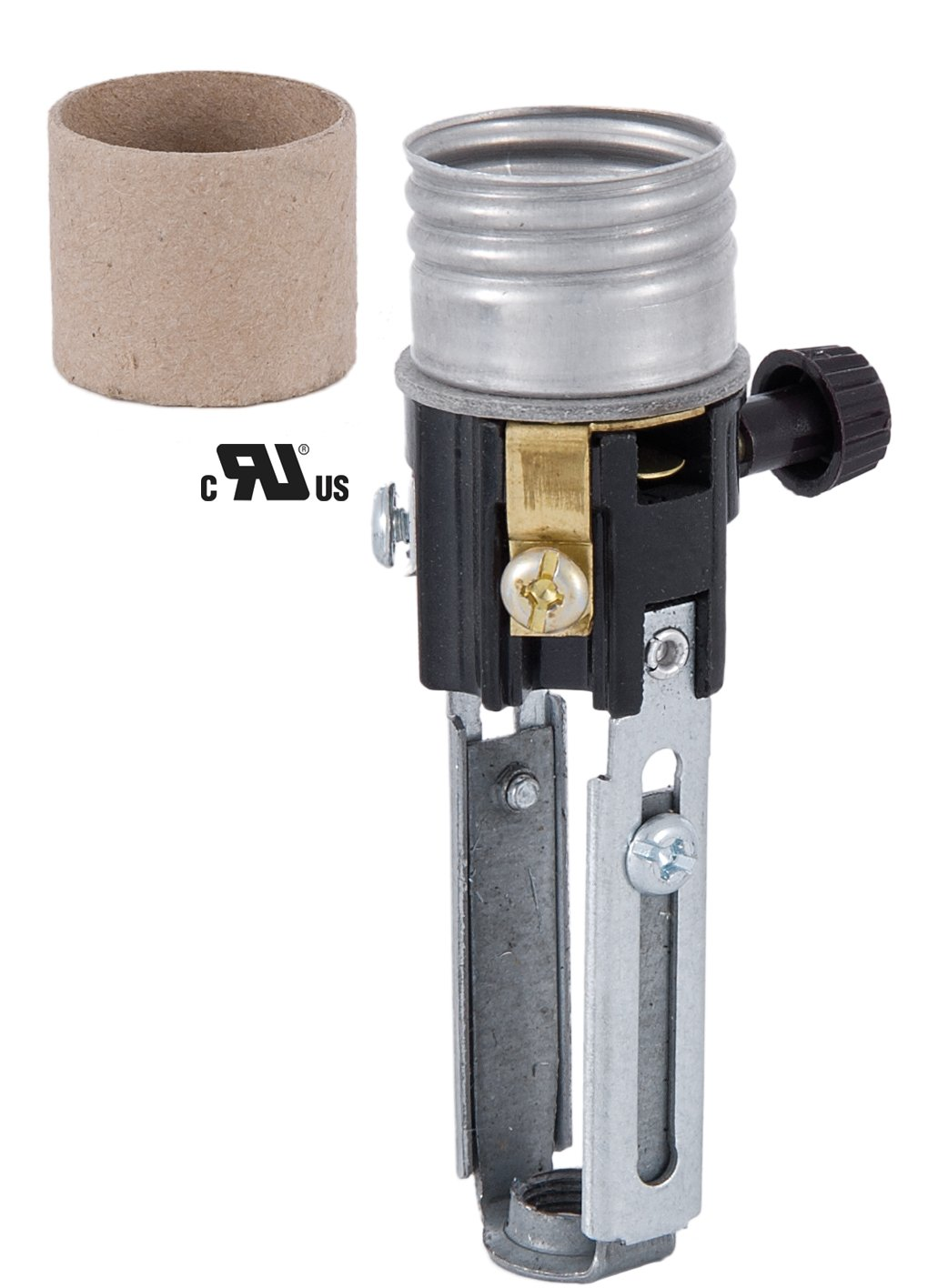 B&P Lamp Med. Base, Adjustable Height (4'' to 5 1/2''), On/Off Turn-knob Candle Socket