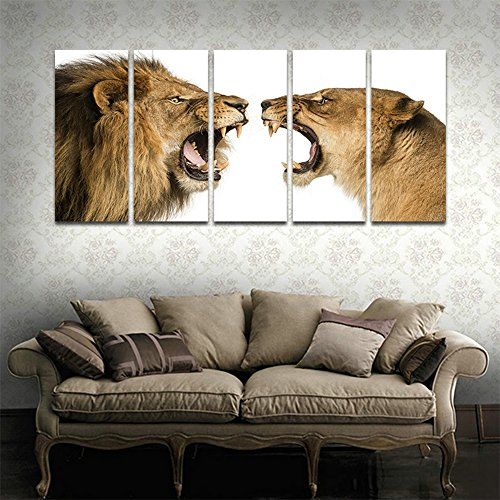 Lion Roar Picture (CyiArt 5 Panels Wall Art Painting Roar Lion Pictures Prints On Canvas Animal The Picture Decor Modern Decoration Print For Bathroom Bedroom Home Decorations (69