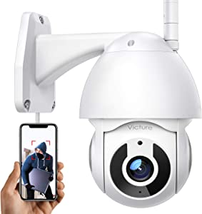 Security Camera Outdoor, Victure 1080P WiFi Home Security Camera with Pan/Tilt 360° View, Night Vision, IP66 Waterproof Motion Detection Compatible with iOS/Android