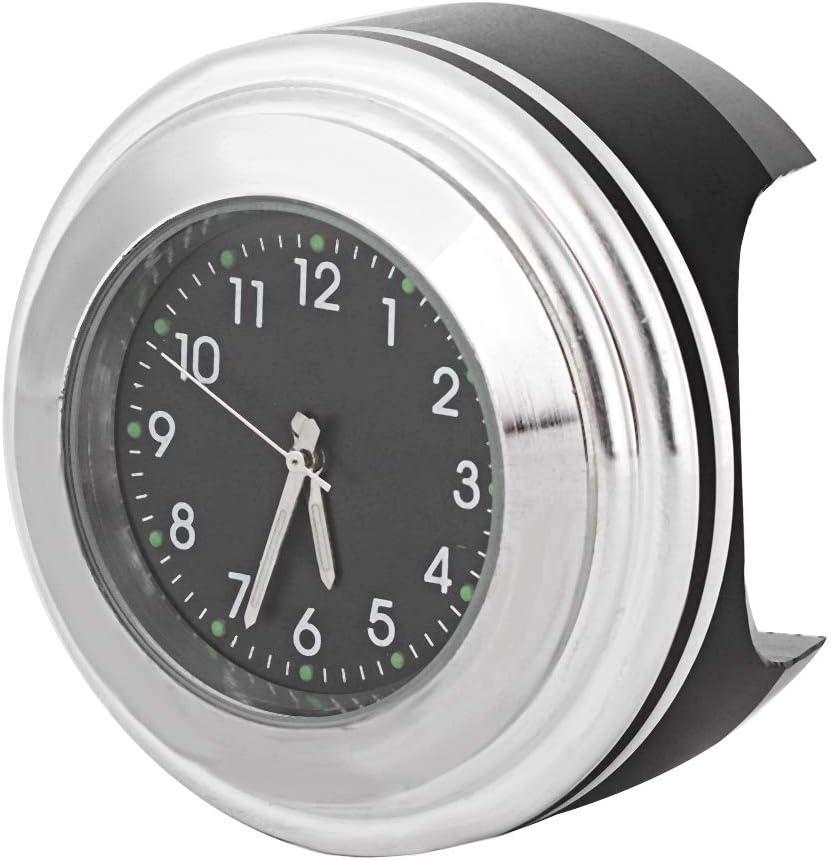 Black Surface White Dial Orologio per manubrio da moto montaggio per manubrio per moto Accessori per orologio al quarzo impermeabile