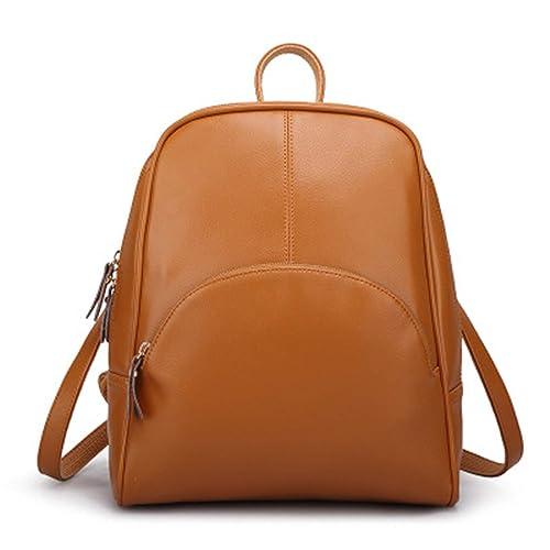 Amazon.com: Leather Womens Backpack Schoolbag Female Backpacks Women Preppy Style Rucksack Sweet Ladies Knapsack: Shoes