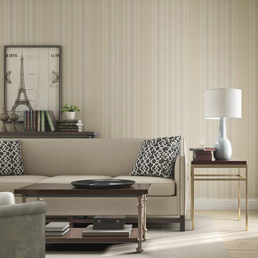 Environmentally friendly wallpaper wallcovering,peel and stick wallpaper, retro American rustic stripe, breathable, moisture-proof, tear-resistant, size 0.53 10m, Safe and environmentally friendly-L