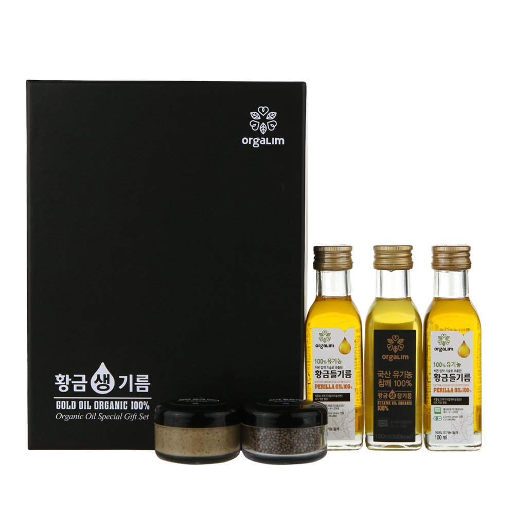 100% Organic Oil Gift Set Cold Pressed Korean Perilla Seed Oil Toasted Sesame Oil Perilla Seed Butter