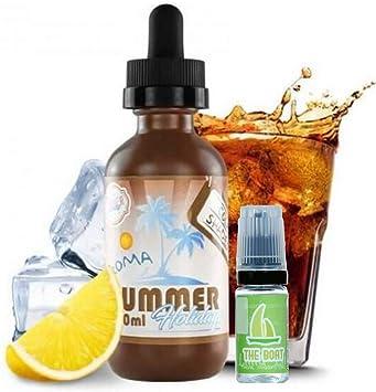 E Liquid Dinner Lady Summer Holidays Cola Shades 50ml - 70vg 30pg - booster shortfill + E Liquid The Boat 10 ml lima ...
