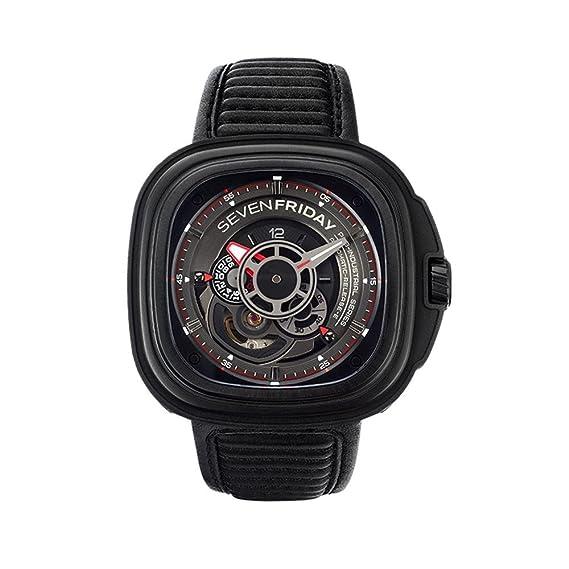 SEVEN FRIDAY P-SERIES RELOJ DE HOMBRE AUTOMÁTICO 48MM CORREA DE CUERO P3B-01: Amazon.es: Relojes