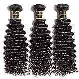 Rechoo Brazilian Virgin Remy Human Hair Extension Weave 3 Bundles 300g Natural Black Deep Curly (18