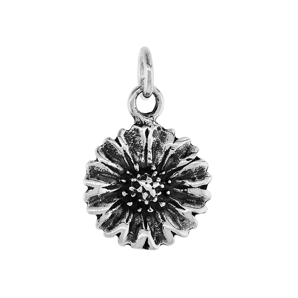 Sterling Silver Sunflower Pendant 3//4 inch tall