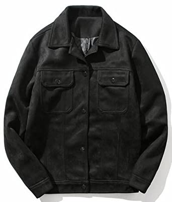 Oberora Mens Fashion Slim Fit Single Breasted Faux Suede Jacket Coat