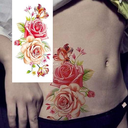 tzxdbh 3 Unids-Tattoo Tatuaje Etiqueta Rosa peonía Flor Brazo ...