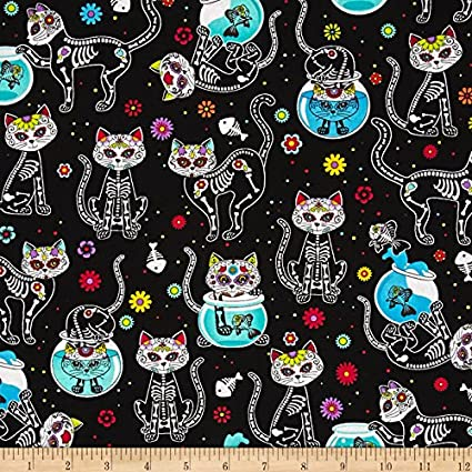 Timeless Treasures Day of The Dead Kitty Black Fabric by The Yard