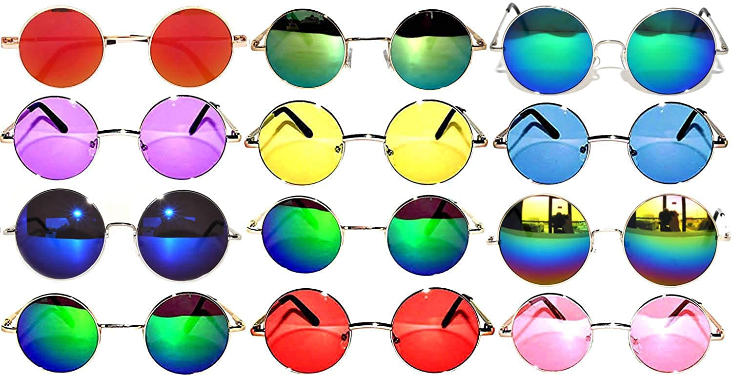 f0791442d5 Amazon.com  Retro Round Circle Colored Vintage Tint Sunglasses Metal Frame  Spring hinge OWL (12p Mix 43mm 56mm 60mm