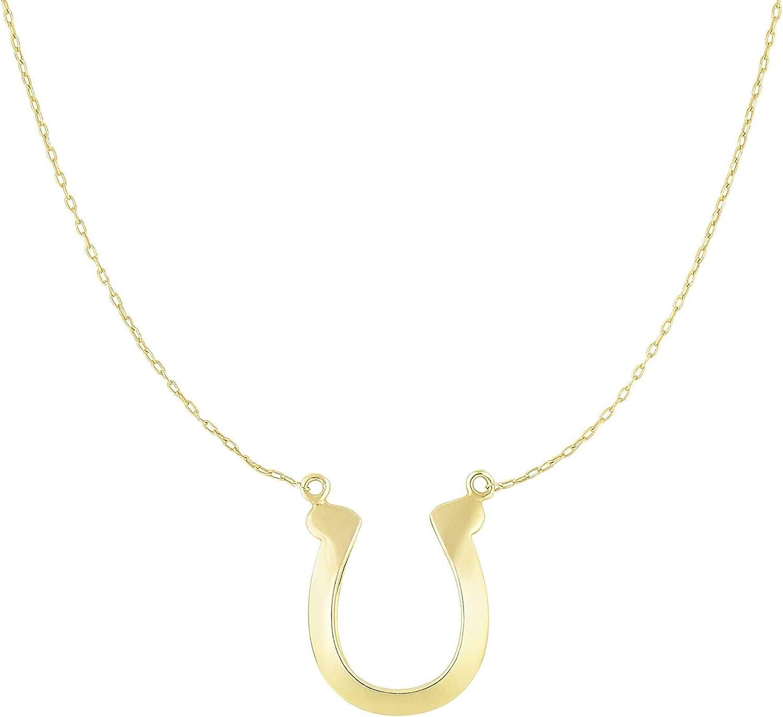 HORSESHOE NECKLACE,14 KT GOLD HORSESHOE NECKLACE 18 INCHES