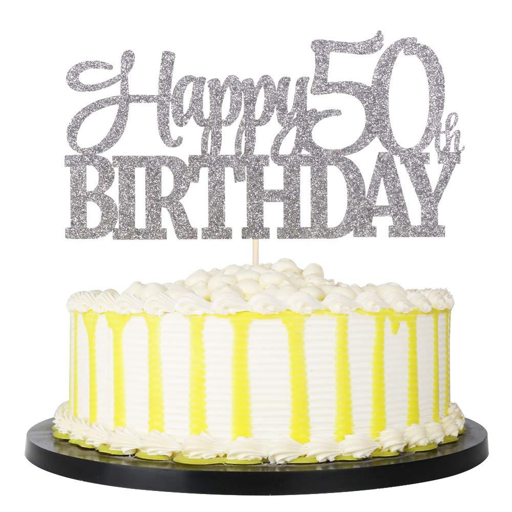 PALASASA Sivler Glittery Happy 50th Birthday Cake Topper,Hello 50,50 Birthday -Anniversary Party Cake Decorations (50th)