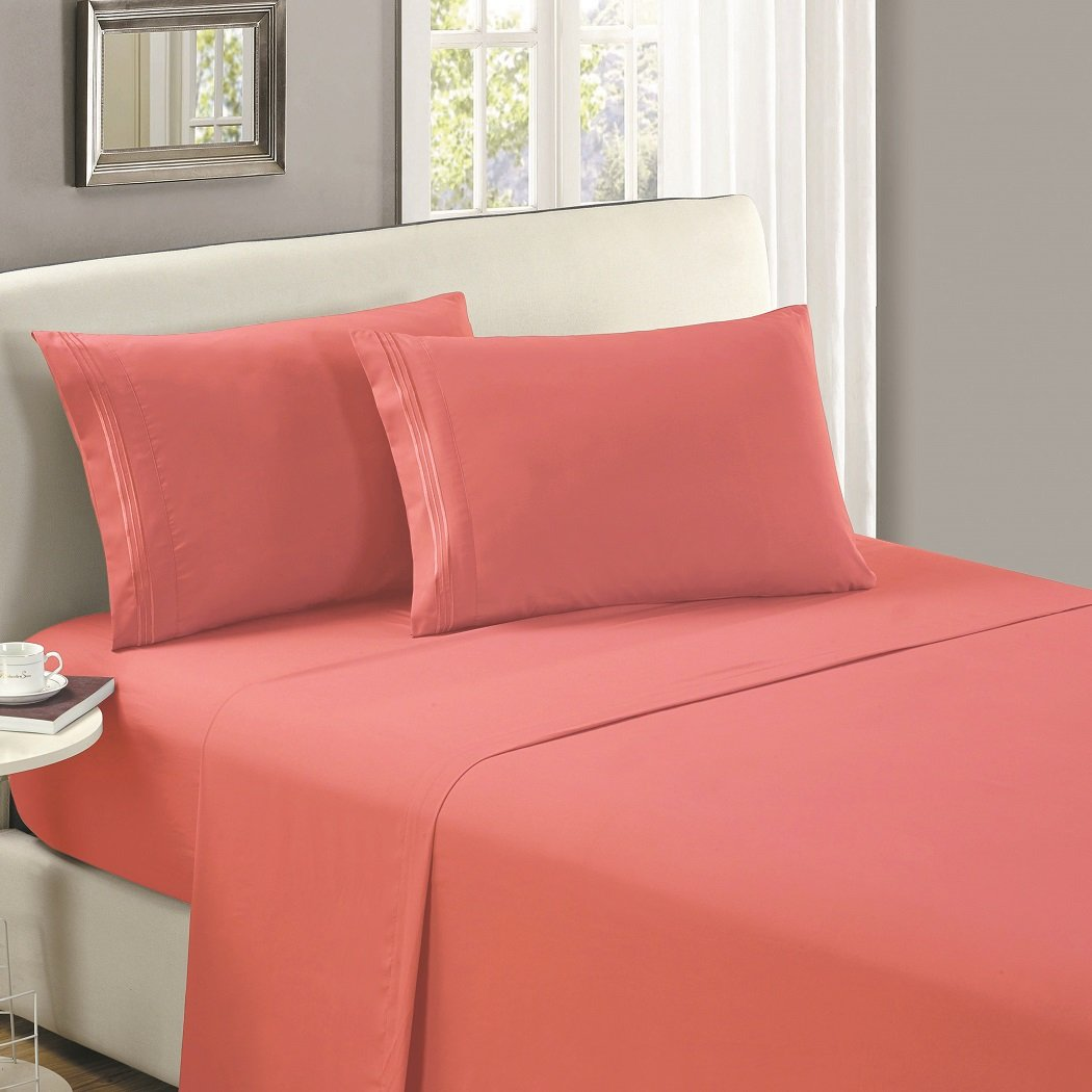 Mellanni Flat Sheet Full Coral - HIGHEST QUALITY Brushed Microfiber 1800 Bedding Top Sheet full Coral