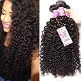 Unice Hair 3 Bundles Brazilian Curly Virgin Hair Weave Unprocessed Human Hair Extensions Natural Color Can Be Dyed and Bleached Tangle Free (22 24 26inches)