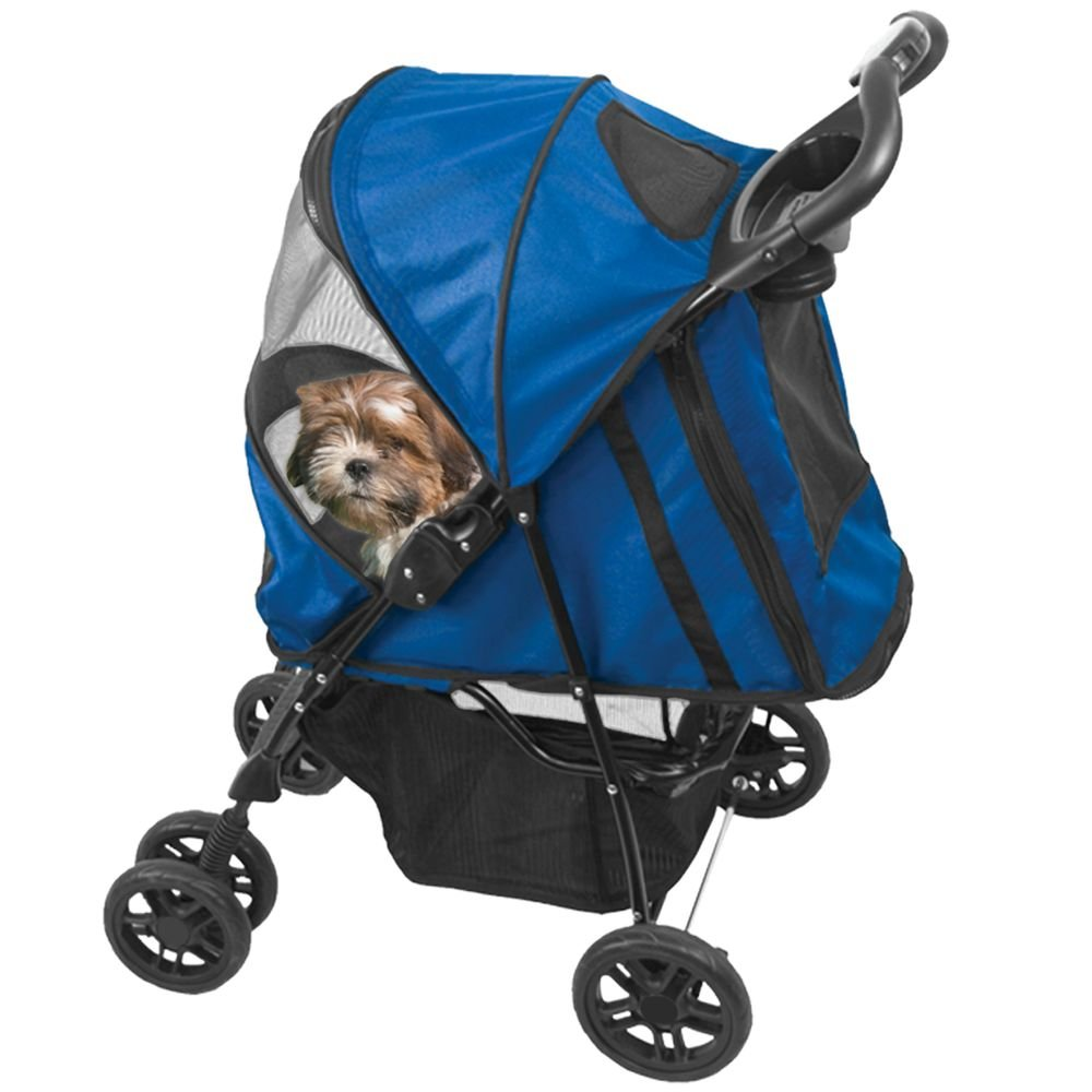 Pet Gear Happy Trails Pet Stroller for Cats/Dogs, Easy One-Hand Fold with Removable Liner, Storage Basket + Cup Holder, Mesh Ventilation