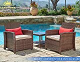 Suncrown Outdoor Furniture Wicker Chairs with Glass Top Table (3-Piece Set) All-Weather | Thick, Durable Cushions with Washable Covers | Porch, Backyard, Pool or Garden …