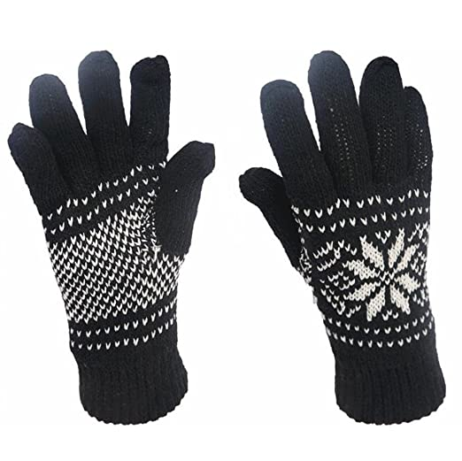 Men Cashmere Gloves Snowflake Pattern Knit Mittens Windproof Full