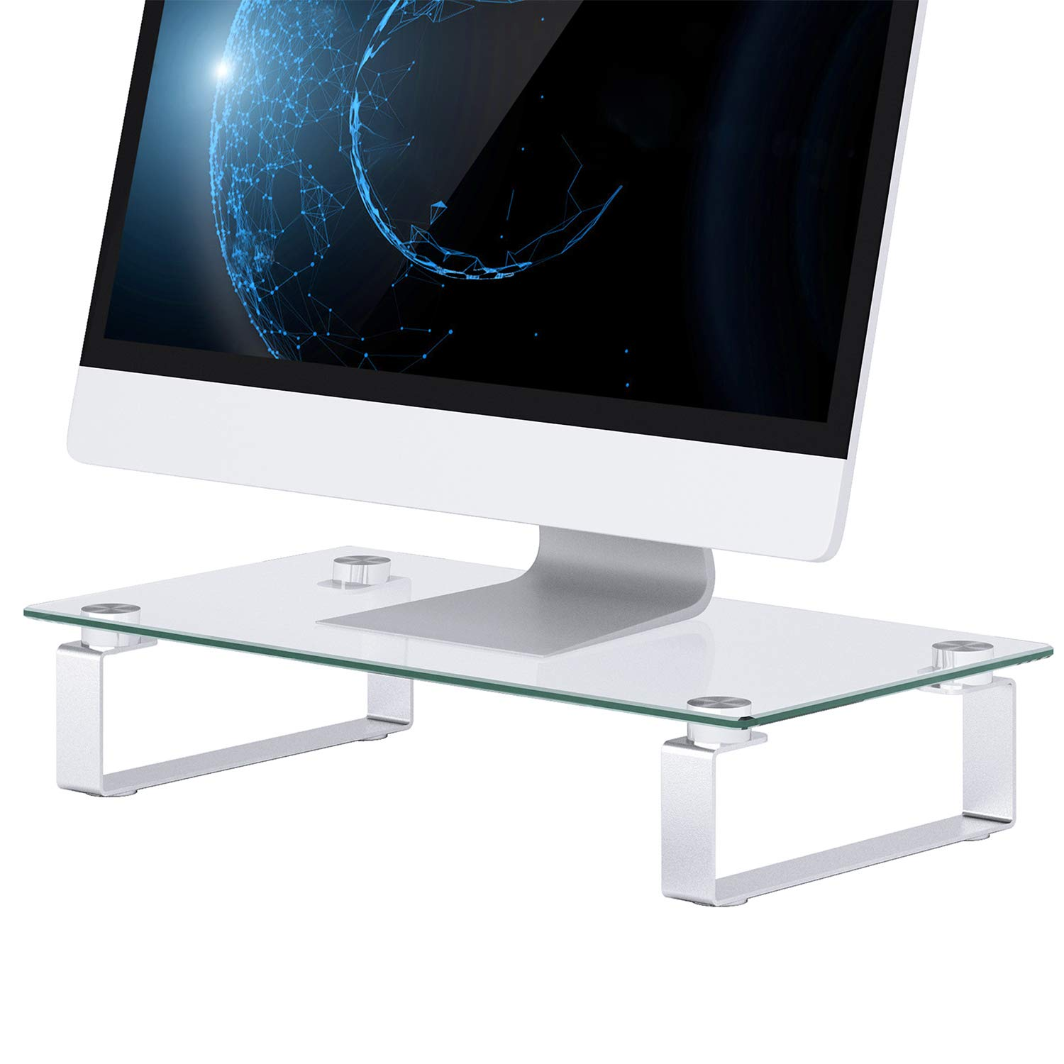 Glass Monitor Stand - Monitor Stand Riser with Anti Slip Legs, Tempered Glass Premium Ergonomic Screen Holder Suitable for LED LCD TV Monitor, Notebook, Computer up to 44lbs by HUANUO (Image #1)