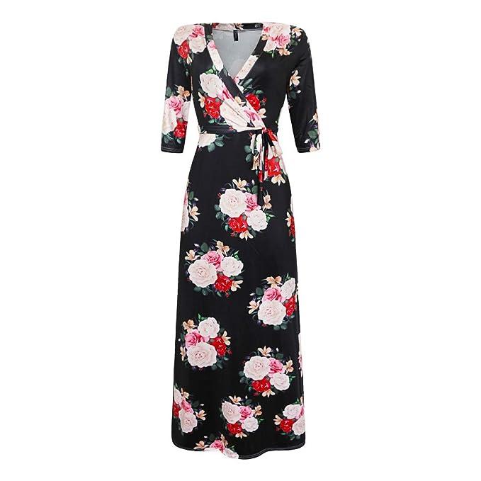 Amazon.com: Toimothcn Plus Size Dress Women Vintage 3/4 ...