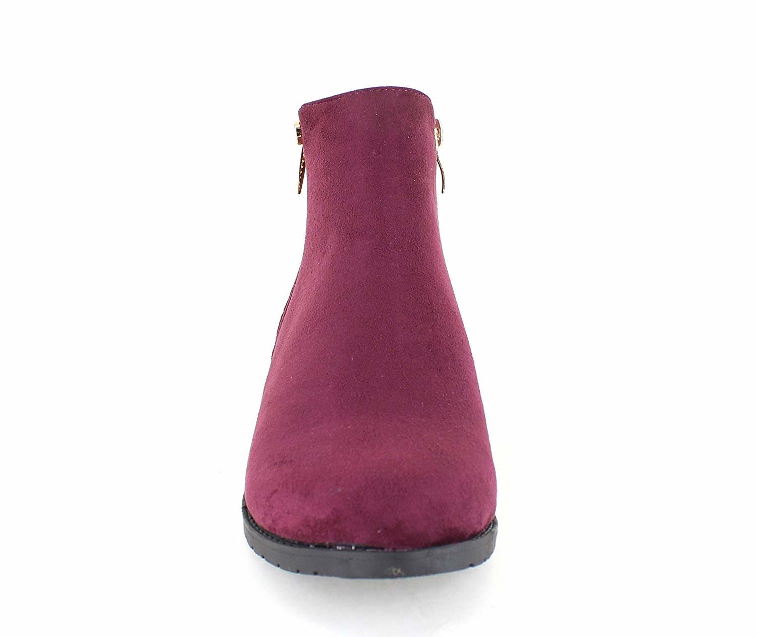 only Gold U Casual Faux Suede Gold only Trim Ankle Boots B07F9HFVHK 7.5 B(M) US|Wine 7ae979