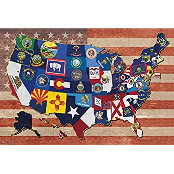 Amazoncom State Flag Map Of The US Art Print Poster X - Us state flag map